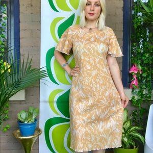 Vintage 1970s flutter sleeve printed dress S/M